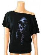 bluzka z czarnym kotem puma