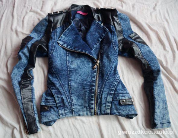 marmurkowa ramoneska jeans skórzane wstawki