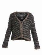 Szaro Brązowy sweterek bolerko New Look