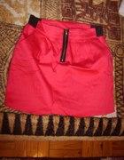 Czerwona mini spódniczka zip