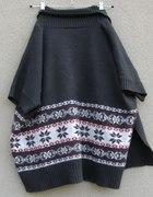 XL ciepły kardigan szary w norweskie wzory sweter