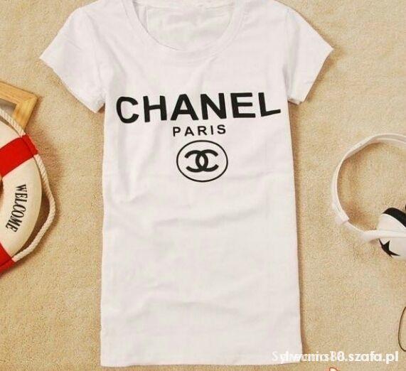 bluzka krótki rękaw biała logo chanel