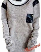 Nowy sweterek z kieszonką beżowy