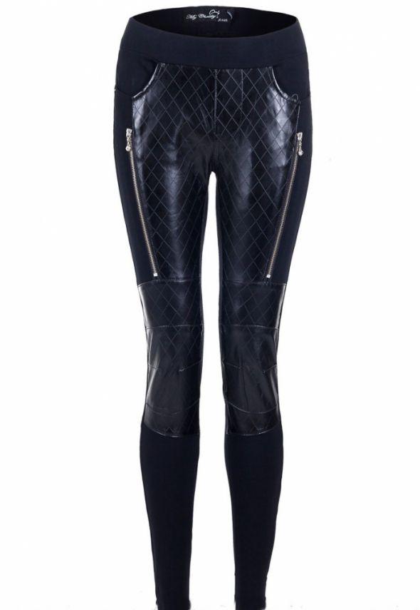Spodnie legginsy ze skórzanymi wstawkami pikowane