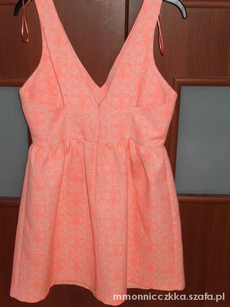 Sukienka ZARA TRF rozkloszowana fluo