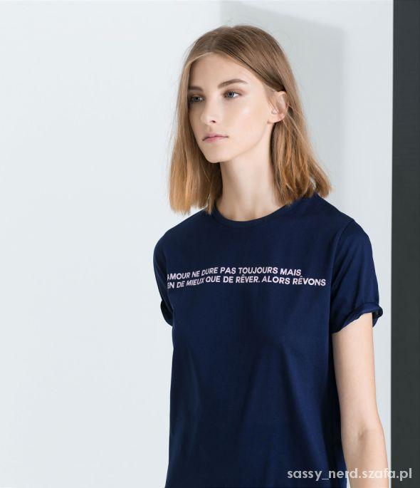 t shirt Zara francuski napis...