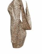 sukienka cekiny złota romwe