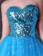 sukienka turkus błękit kokarda cekiny tiul