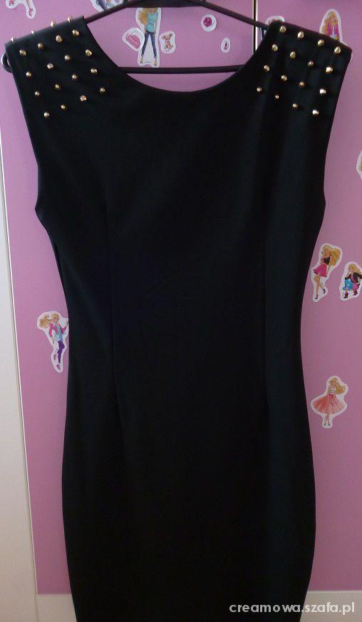 Czarna sukienka ćwieki pagony obcisła