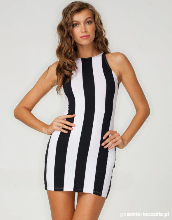 9cc87f045e Sukienka mini z nadrukiem w biało czarne pasy w Suknie i sukienki ...