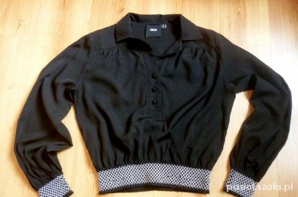 Bluzki krótka czarna bluzka asos 36 S ściągacz w talii