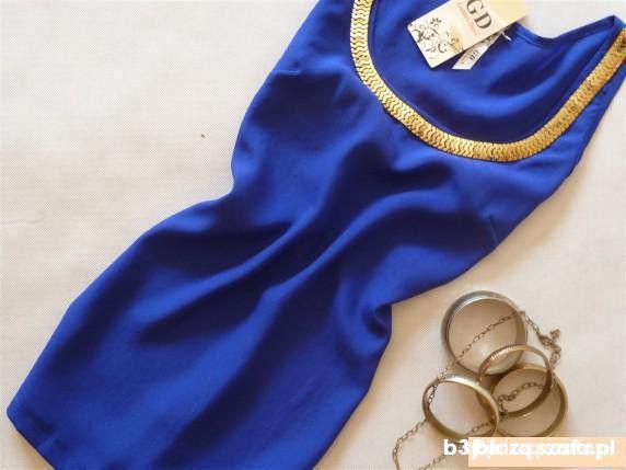 Spódnice kobaltowa mgielka ze zlota kolia