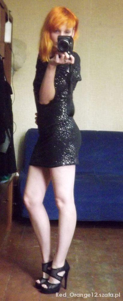 Na specjalne okazje Sukienka rękaw 3 4 z brokatem i gołe plecy