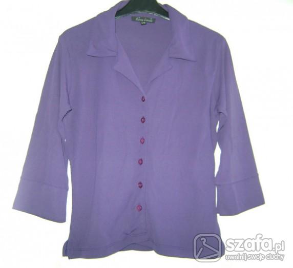 Bluzki Fioletowa bluzka koszulowa do pracy na wyjście