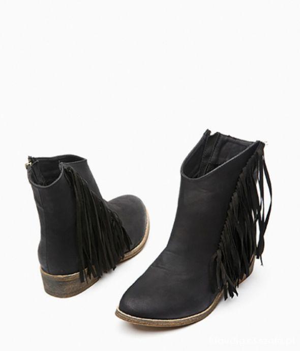 Kowbojki botki czarne frędzle