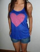 nowa niebieska koszulka z sercem ZIP