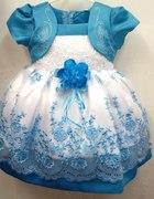 sukienka chrzest roczek wesele haft 80 86