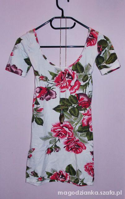 Bluzki FLORAL tuniczka sukienka S wycięte plecy