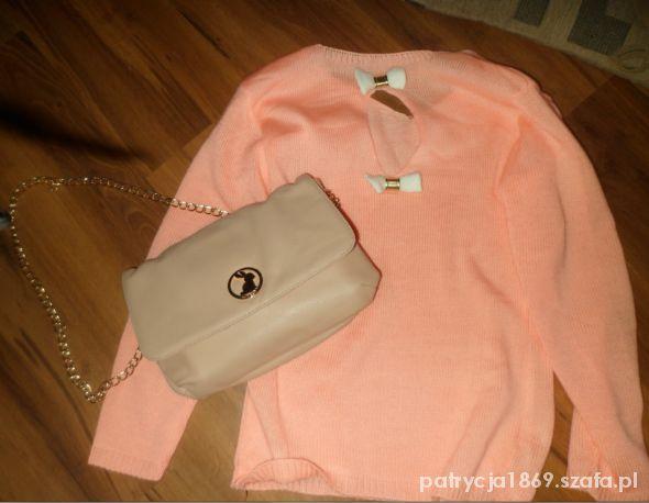 Bluzki neonkowy sweterek z kokardkami