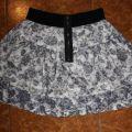 Spódnica na gumce w kwiatki czarnobiała