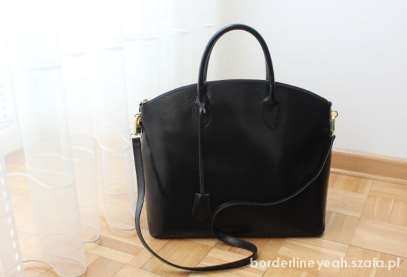 czarna torebka worek teczka kufer skóra plecak A4