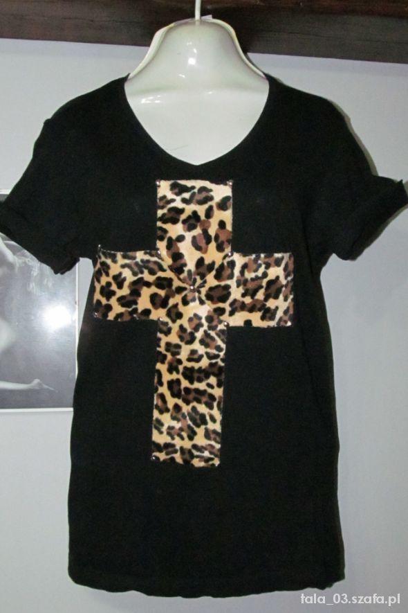 Bluzki panterkowy krzyż z ćwiekami