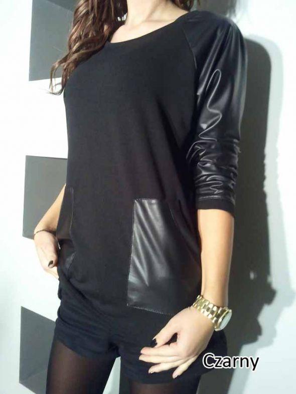 Bluzki czarna skorkowe rekawy