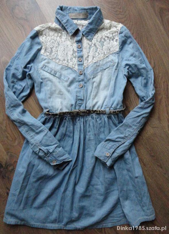 Jeansowa sukienka DENIM CO koronka jeans koszula