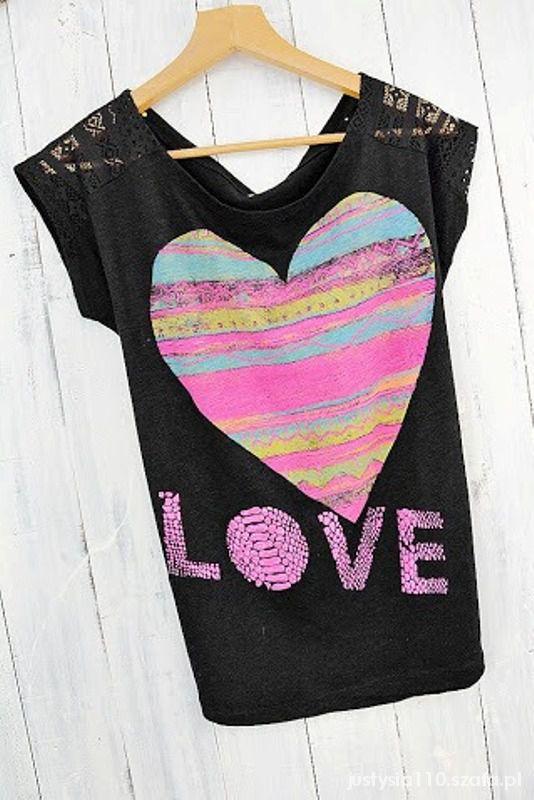 Bluzki Serce LOVE koronki uniwersalny