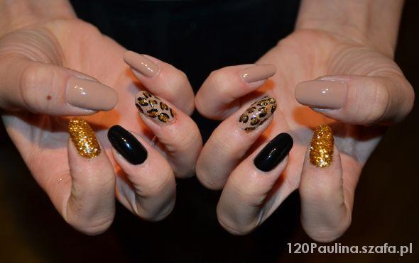 pazurki złoto pantera czerń