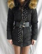 Nowa zimowa kurtka płaszczyk kaptur z futerkiem