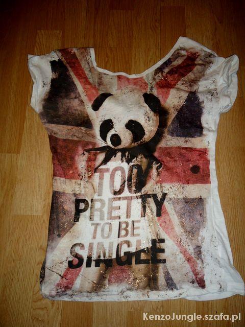 Bluzki Bluzka panda nadruk Bershka