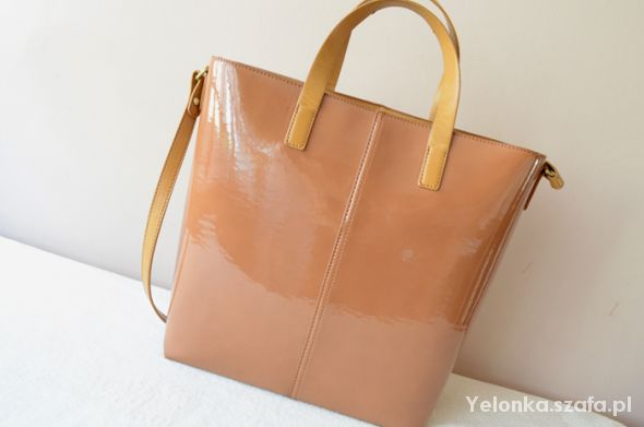 ZARA lakierowana torebka shopper bag