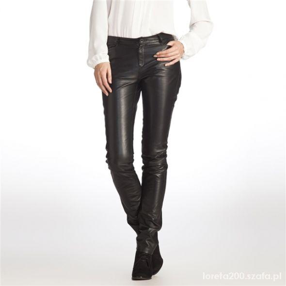 skórzane spodnie H&M rurki...