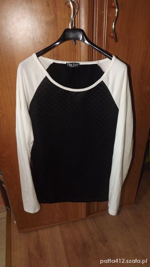 Bluzki pikowana wygodna bluzka białe rękawy czarna