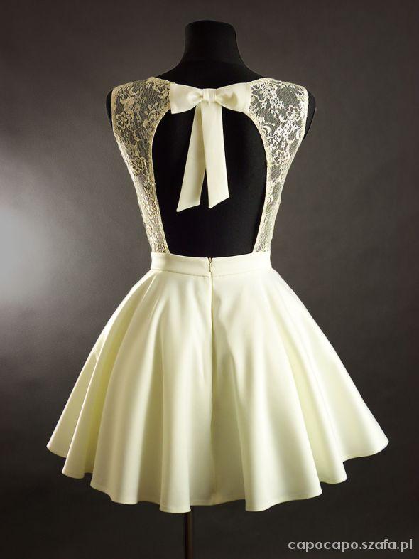 Suknie i sukienki SUKNIA Z KORONKĄ I KOKARDKĄ NA PLECACH