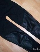 Legginsy czarne ze wstawkami skórzanymi na kolanac