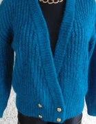 moherowy sweterek m l złote guziki