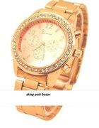 Zegarek Geneva Złoty z cyrkoniami golden rose