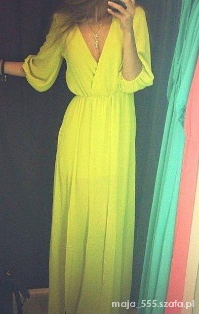 Piękna żółta zwiewna sukienka
