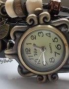 Zegarek retro motylek skórzany pasek