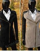 płaszczyk czarny płaszcz z pikowanymi rękawami