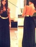 czarna suknia ze złotym paskiem
