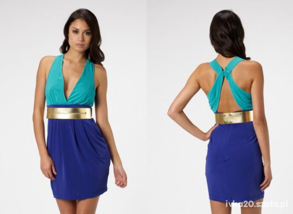 Suknie i sukienki LIPSY VIP odkryte plecy sexi turkus kobalt wesele