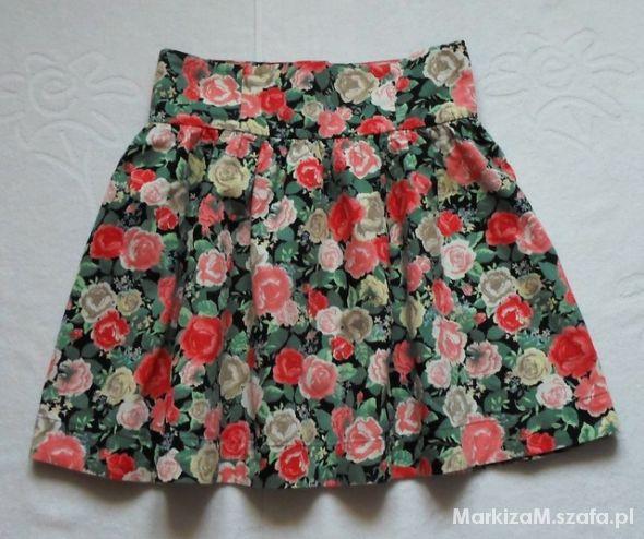 Spódnice H&M Spódnica floral z podwyższonym stanem r 38