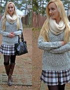 tartan skirt and cozy sweater...