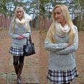 tartan skirt and cozy sweater