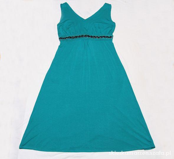 f500b3fe15 TURKUSOWA SUKIENKA Z KAMIENIAMI MIDI RETRO 44 46 w Suknie i sukienki ...