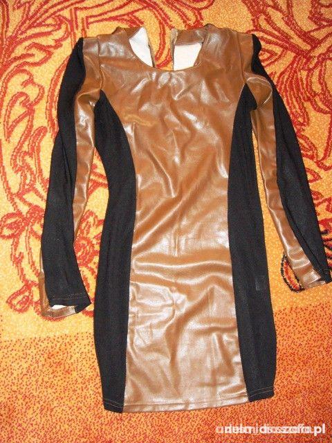 Sukienka eskórka czarny i brąz 36 S z zippem