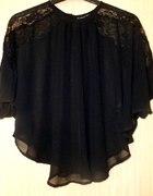 Bluzka czarna mgiełka asymetryczna z koronką